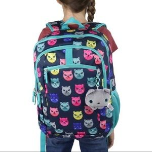 """Girls kitty cat backpack with plush key chain 18"""""""